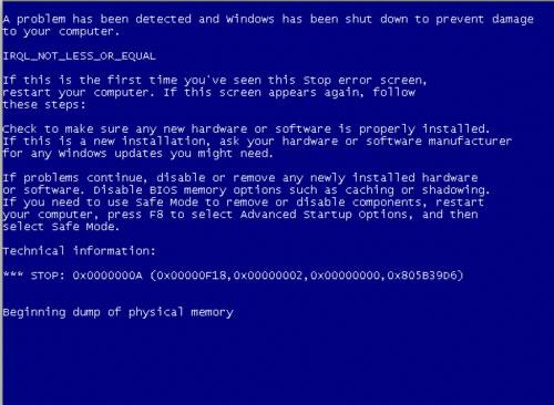 Windows Blue Screen of Death