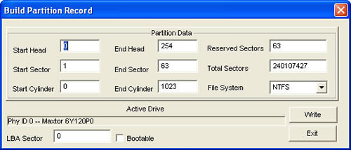 rebuild partition record