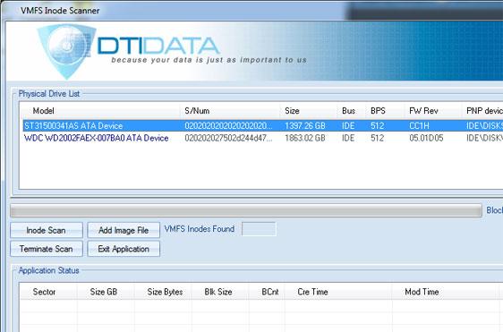 VMFS Inode Scanner Screenshot